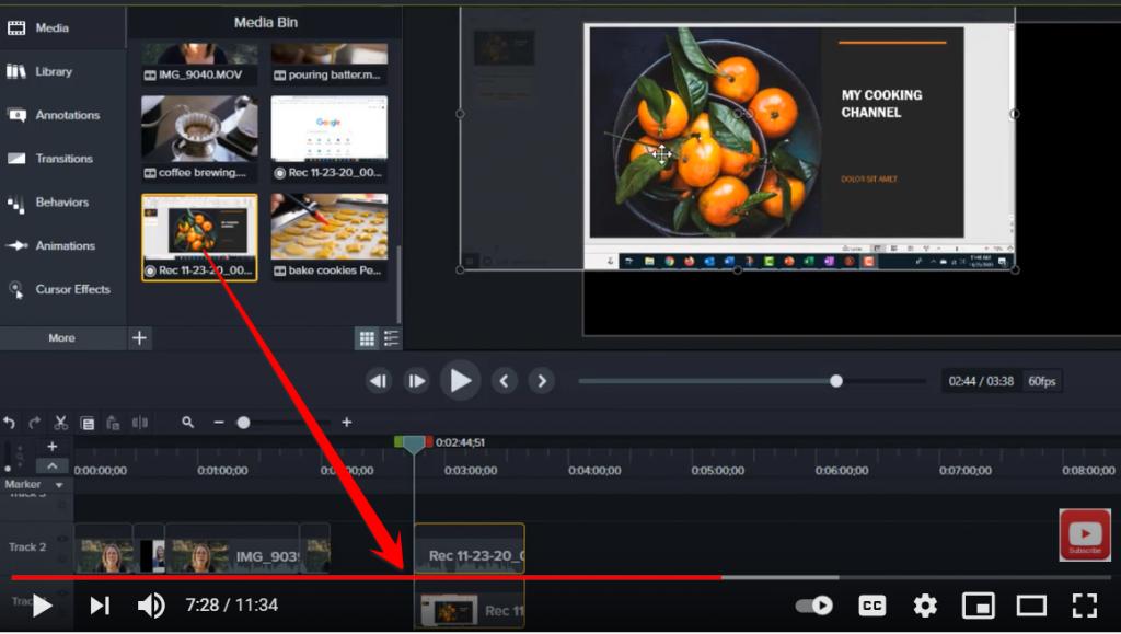 adding the main video