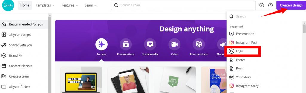 create a logo in Canva