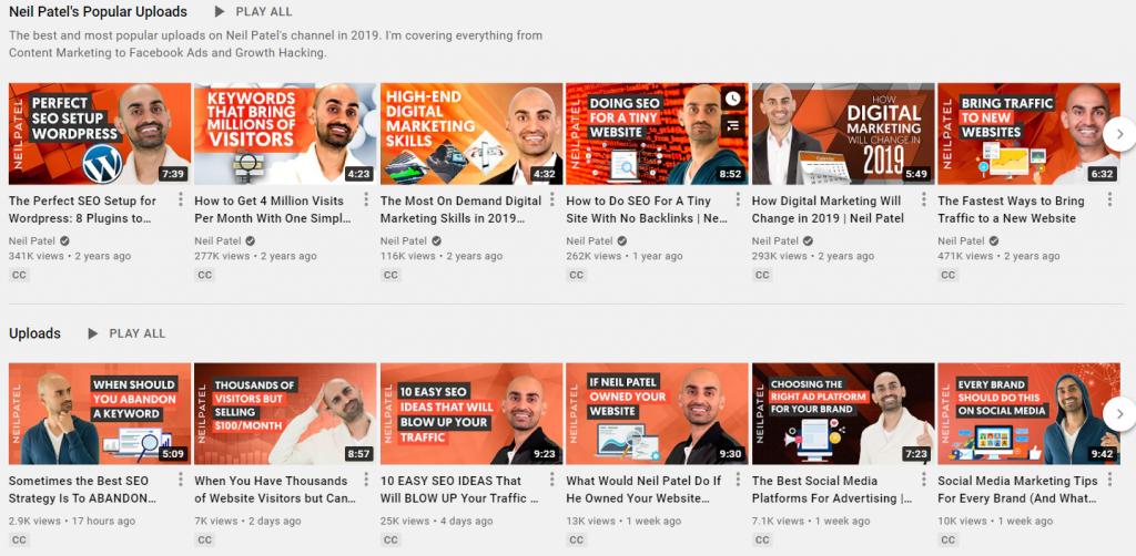 Neil Patel's channel